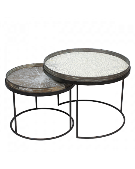 SET TABLES BASSES ROUND TRAY TABLES Ø49XH31/Ø62XH38 NOTRE MONDE