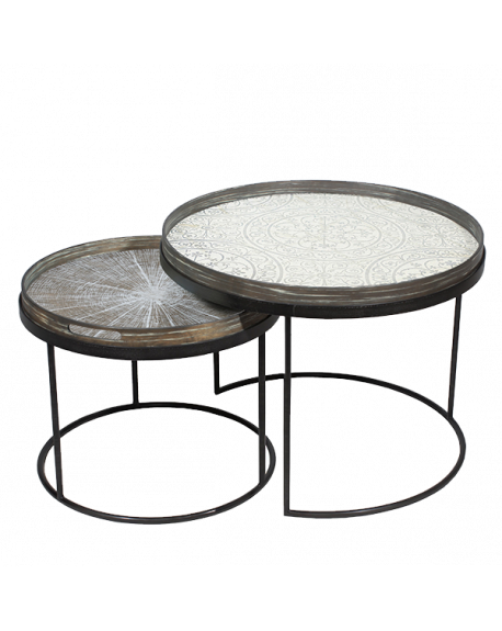 SET TABLES BASSES ROUND TRAY TABLES Ø49XH31/Ø62XH38 - NOTRE MONDE