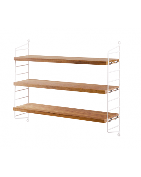 ETAGERE STRING POCKET OAK/WHITE - STRING FURNITURE