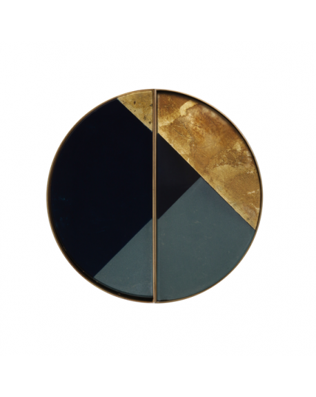 PLATEAU SET GEOMETRIC MINI GLASS TRAY METAL RIM HALF MOON - NOTRE MONDE
