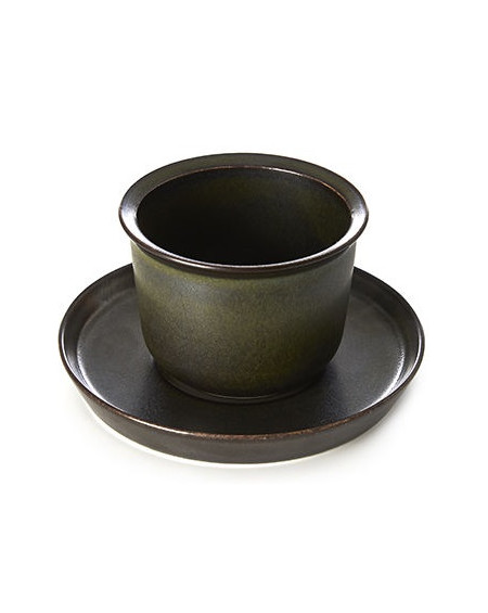 TASSE ET SOUS-TASSE LEAVES TO TEA CUP & SAUCER BLACK  KINTO