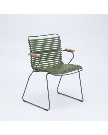 FAUTEUIL CLICK DINING CHAIR AVEC ACCOUDOIRS VERT OLIVE - HOUE