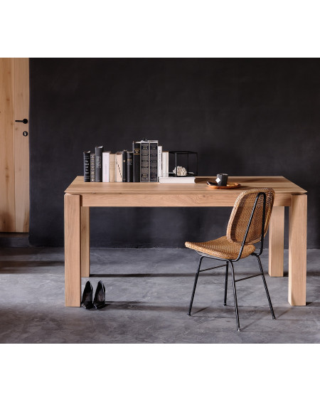 TABLE SLICE CHENE 140X80 - PIEDS 8 X 8 CM ETHNICRAFT