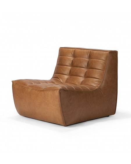 FAUTEUIL N701 CUIR MARRON OLD SADDLE 1 PLACE 80X91XH76 ETHNICRAFT