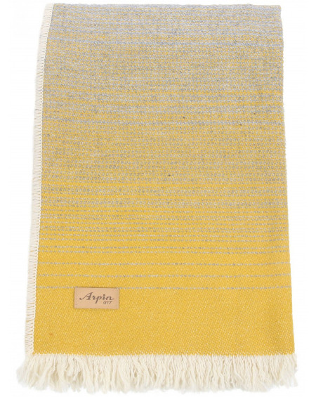 PLAID BALME FRANGES 110X150 JAUNE ARPIN