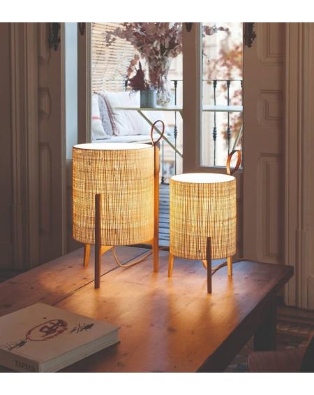 LAMPE DE TABLE GRETA CHENE ET FIBRE NATURELLE Ø26XH44 CARPYEN