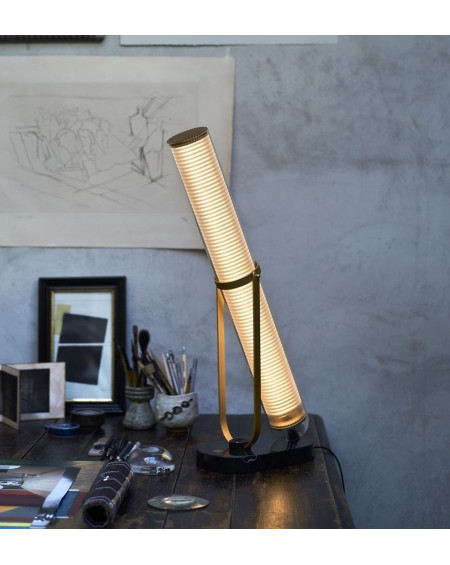 LAMPE FRECHIN CHASSIS DORE BASE MARBRE NOIR  DCW EDITIONS