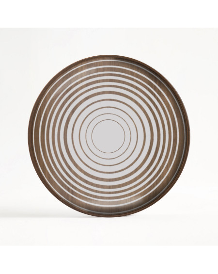 PLATEAU ROND CREAM CIRCLES GLASS VALET TRAY Ø30 ETHNICRAFT