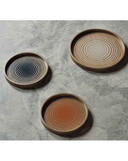 PLATEAU ROND CREAM CIRCLES GLASS VALET TRAY Ø30 ETHNICRAFT
