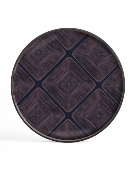 PLATEAU MIDNIGHT LINEAR SQUARES GLASS TRAY - ETHNICRAFT