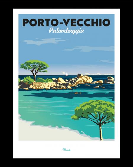 AFFICHE 30X40 PORTO VECCHIO MARCEL TRAVEL POSTER