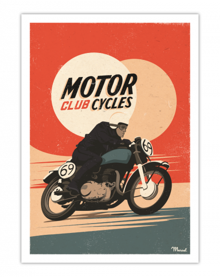 AFFICHE 30X40 MOTORCYCLES CLUB MARCEL TRAVEL POSTER