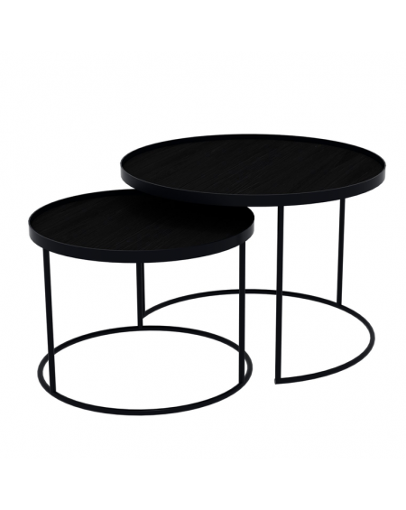 SET TABLES BASSES ROUND TRAY TABLES Ø49XH31/Ø62XH38 NOTRE MONDE